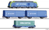 Tillig 1400 Analóg kezdőkészlet: TRAXX dízelmozdony tehervonattal, PKP (E6), ágyazatos ovál pályával