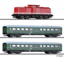 Tillig 1425 Analóg kezdőkészlet: BR 110 dízelmozdony 2 db személykocsival, modellsínnel (