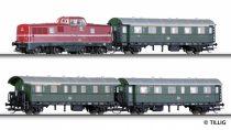 Tillig 1426 Analóg kezdőkészlet: V 80 dízelmozdony 3 db személykocsival, modellsínnel (TT
