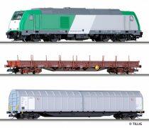 Tillig 1429 Analóg kezdőkészlet: TRAXX dízelmozdony (SNCF) 2 db teherkocsival, ágyazatos s