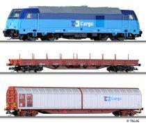 Tillig 1431 Analóg kezdőkészlet: TRAXX dízelmozdony teherkocsikkal, CD Cargo (E6)