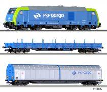 Tillig 1432 Analóg kezdőkészlet: TRAXX dízelmozdony teherkocsikkal, PKP Cargo (E6)