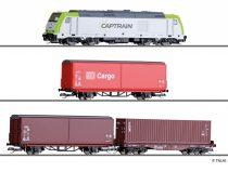 Tillig 1448 Analóg kezdőkészlet: Dízelmozdony TRAXX, modern tehervonattal, DB-AG (E6) (TT)