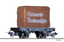 Tillig 15919 Forgózsámolyos rönkszállító teherkocsi rakománnyal, Holzwerke Rinkemühle (