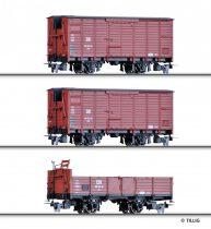 Tillig 15971 Teherkocsi-készlet, 3-részes nyitott + 2 db fedett teherkocsi, H0m, DR (E3)