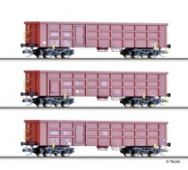 Tillig 1678 Nyitott négytengelyes teherkocsi-készlet (3-részes), DB-AG/BDZ/Privat (E5) (TT)