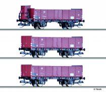 Tillig 1683 Nyitott teherkocsi készlet (3-részes) Grundstoff-Industrie-Pendel 1, DR (E3) (TT)