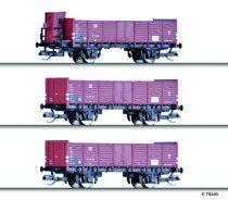 Tillig 1684 Nyitott teherkocsi készlet (3-részes) Grundstoff-Industrie-Pendel 2, DR (E3) (TT)
