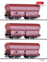 Tillig 1708 Önürítős négytengelyes teherkocsi-készlet, 3-részes OOt, Kohlenzug 1, DRG (E