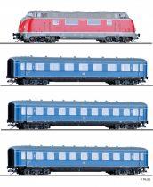 Tillig 1750 Személyvonat-készlet: V 200 dízelmozdony 3 db négytengelyes személykocsival, 6
