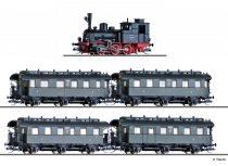 Tillig 1751 Gőzmozdony T3 személyvonattal (1x BCi, 2x Ci, 1x CPwi), DRG (E2) - DCC dekóderre