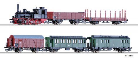 Tillig 1752 Vegyesvonat-készlet (Gmp), BR 89.70 gőzmozdonnyal, 3 teherkocsi 2 személykocsiva