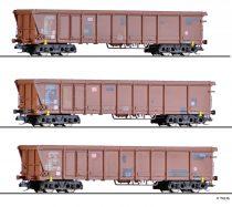Tillig 1772 Rolótetős négytengelyes teherkocsi-készlet, 3-részes Tamns 893, DB-AG (E6) (TT