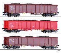 Tillig 1794 Nyitott négytengelyes teherkocsi-készlet, 3-részes Eanos 069, feketeszén rakománnyal, DB-AG (E5)