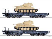 Tillig 1801 Nehézteherszállító hattengelyes pőrekocsi-pár, SSyms, DR, 2 db T34/85 harckoc