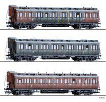 Tillig 1814 Oldalfellépős négytengelyes személykocsi-készlet, 3-részes, K.P.E.V. (E1) (TT