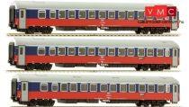 Tillig 58026 Hálókocsi készlet, 3-részes, RZD, Berlin-Moszkva (TT)