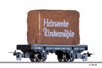 Tillig 5919 Rönkszállító forgózsámolyos teherkocsi, DR, ponyvázott rakománnyal, Holzwer