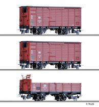 Tillig 5971 Teherkocsi-készlet, 3-részes nyitott + 2 db fedett teherkocsi, H0e, DR (E3)