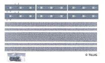 Tillig 87016 LUNA villamosvágány: Dupla egyenes sín, 316,8mm, kockakő útburkolattal (H0m/T