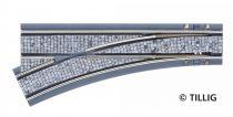 Tillig 87083 LUNA villamosvágány: Balos váltó 105,6mm EW R250/25°, kockakő útburkolattal