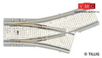 Tillig 87143 LUNA villamosvágány: Y váltó, balos, R204/20° - R250/15°, kockakő útburkol