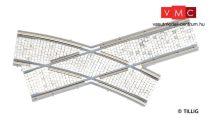 Tillig 87163 LUNA villamosvágány: íves balos keresztezés, R250/20°, kockakő útburkolatta