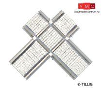 Tillig 87228 LUNA villamosvágány: Aszimmetrikus keresztezés 90°, kockakő útburkolattal (T
