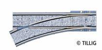 Tillig 87583 LUNA villamosvágány: Balos váltó 105,6mm EW R250/25°, kockakő útburkolattal