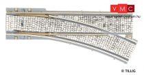 Tillig 87588 LUNA villamosvágány: Jobbos váltó 105,6mm EW R250/25°, kockakő útburkolatta