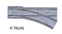 Tillig 87598 LUNA villamosvágány: Párhuzamos jobbos váltó 105,6mm PW R204/30°, kockakő útburkolattal (H0)