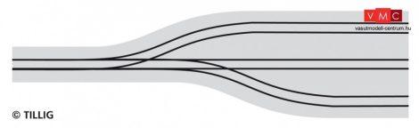 Tillig 87632 LUNA villamosvágány: Kitérővágányok villamosremízekhez, 528,3mm, aszfalt/be