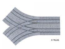 Tillig 87656 LUNA villamosvágány: Párhuzamos dupla Y elágazás, R204/R250, kockakő útburk