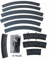 Tillig 87762 LUNA villamosvágány: Íves sín R204 90°, aszfalt/beton útburkolattal (H0)
