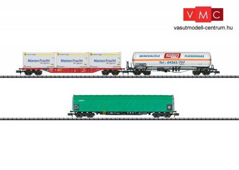 Trix 15303 Tehervagon-készlet, 3-részes négytengelyes gázszállító tartálykocsi, konténerszállító és ponyvás teherkocsi (E6) (N)