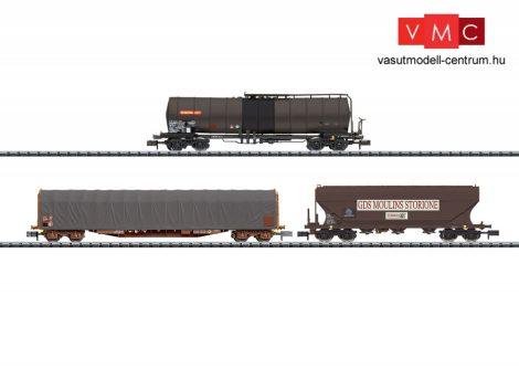 Trix 15448 Teherkocsi-készlet, négytengelyes ponyvás, tartály és gabonaszállító, SNCF (E5) (N)