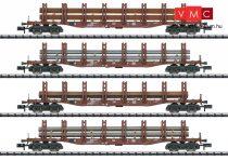 Trix 15484 Rakoncás négytengelyes teherkocsi-készlet, 4-részes Snps 719, acélgerenda rakománnyal, DB (E4) (N)