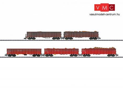 Trix 15993 Nyitott teherkocsi-készlet, 5-részes négytengelyes Eanos, ócskavas rakománnyal, DB-AG (E6) (N)