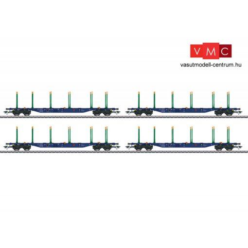 Trix 24247 Rakoncás teherkocsi-készlet, 4-részes négytengelyes KLV / Sgnss, rönkfa szállításhoz, Green Cargo (E6) (H0)