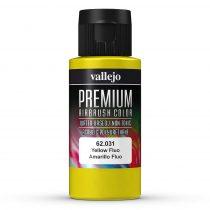 Vallejo 62031 Yellow Fluo - Premium Opaque (Acrylic Polyurethane Airbrush Color) 60 ml