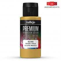 Vallejo 62042 Metallic Yellow - Premium Opaque (Acrylic Polyurethane Airbrush Color) 60 ml