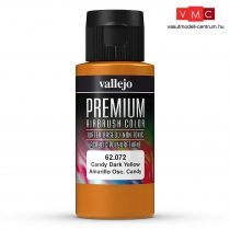 Vallejo 62072 Candy Dark Yellow - Premium Opaque (Acrylic Polyurethane Airbrush Color) 60 ml