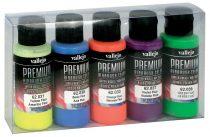 Vallejo 62102 Fluo Color Set - Premium Opaque (Acrylic Polyurethane Airbrush Color) 5 x 60 ml