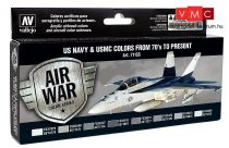 Vallejo 71155 Model Air Paint Set - US Navy & USMC Colours from 70's to Present (8 x 17ml)