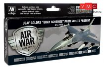 Vallejo 71156 Model Air Paint Set - USAF Colours Grey Schemes from 70's to Present (8 x 17ml)