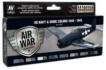 Vallejo 71157 Model Air Paint Set - US Navy & USMC Colors WWII 1940-1945 (8 x 17ml)