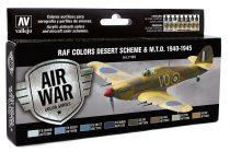 Vallejo 71163 Model Air Paint Set - RAF Colors Desert Scheme & M.T.O. 1940-1945 (8 x 17ml)