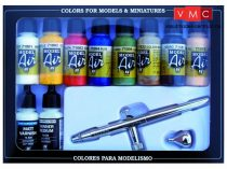 Vallejo 71167 Model Air Set - Ultra Airbrush + 10 Basic Colors (10 x 17ml)