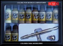 Vallejo 71168 Model Air Set Ultra Airbrush + 10 Camouflage Colors (10 x 17ml)