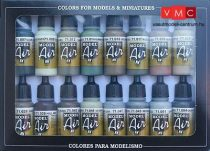 Vallejo 71180 Model Air Paint Set - Alied Forces WWII Colors Set (16 x 17ml)